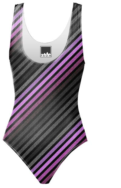 80s Striped Swimsuit Purple Gray