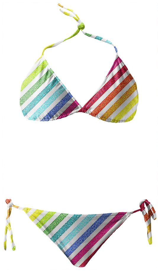 80s Striped Rainbow Bikini