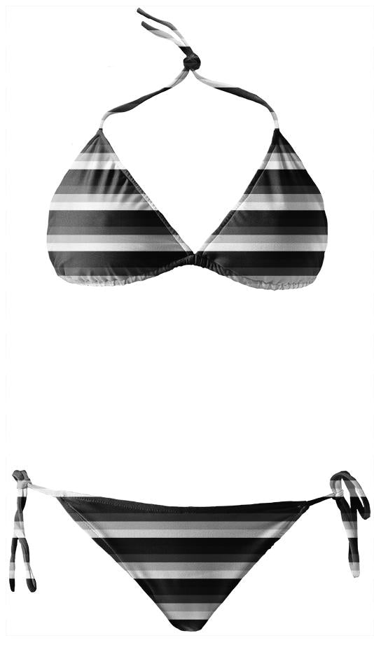 Black Gray White Striped Bikini