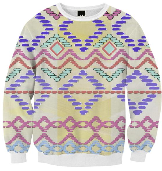 Pastel Tribal Pattern Ribbed Sweatshirt