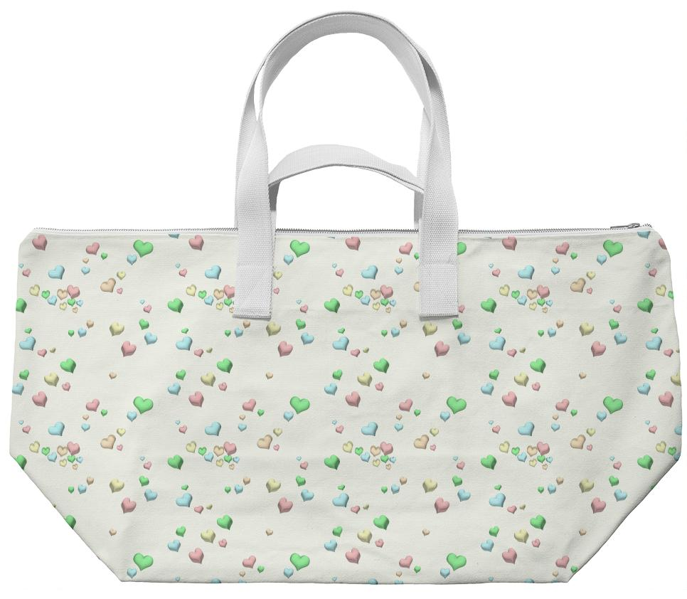 Pastel Candy Hearts Bag by Squibble Design