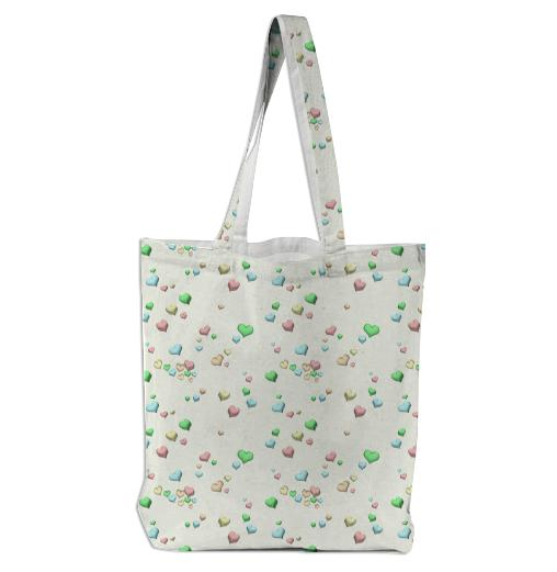 Pastel Candy Hearts Tote Bag by Squibble Design