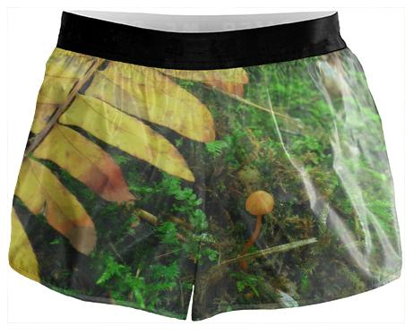Yellow fern shroomie running shorts