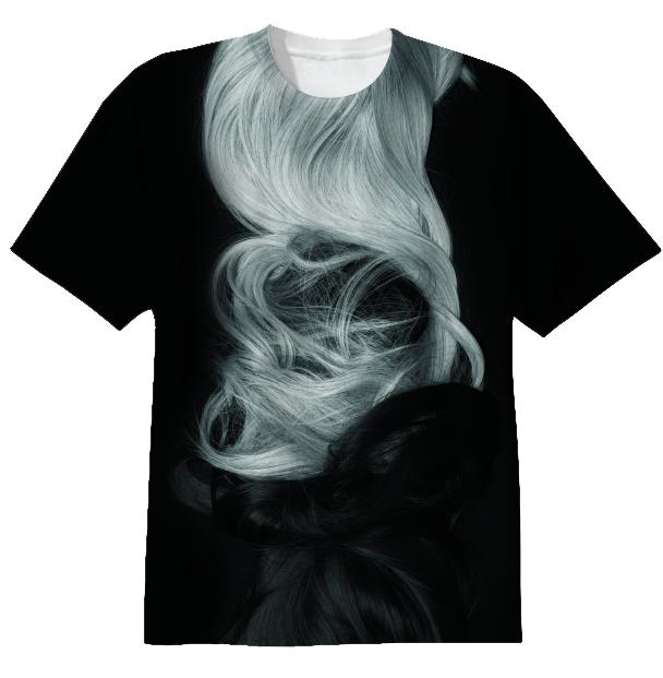 black grey wigs t shirt