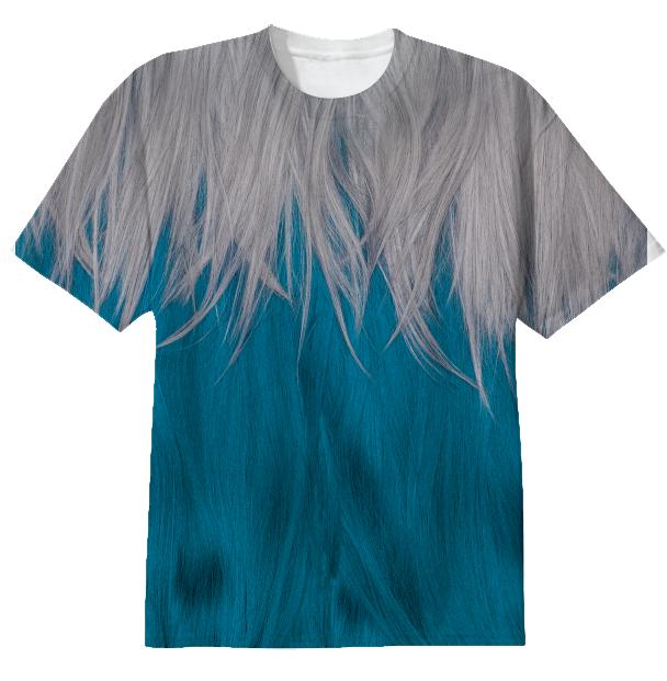 blue and grey wig tshirt