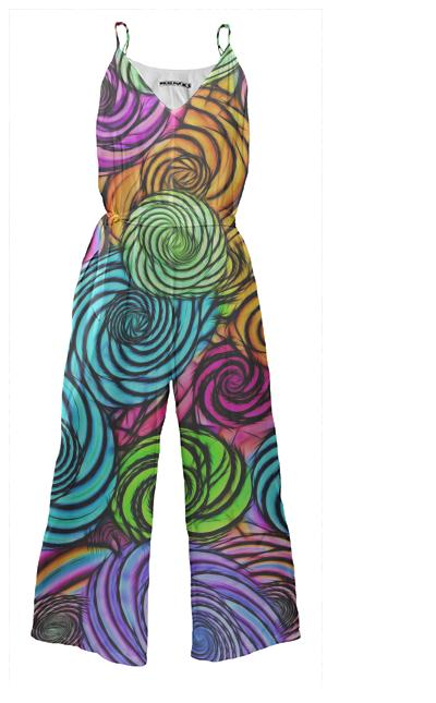 Crazy Florescent Abstract Jumpsuit