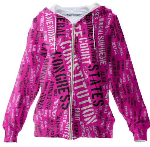 Hot Pink Constitution Typography Hoodie