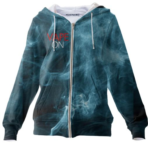 Blue Smoke Vape On Zip Hoodie