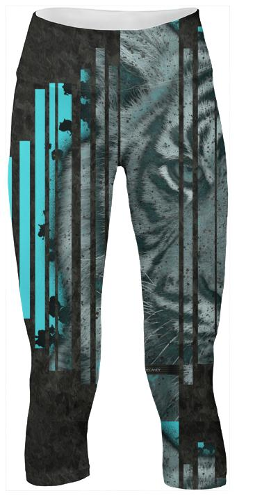 Turquoise Blue Tiger Yoga Pants