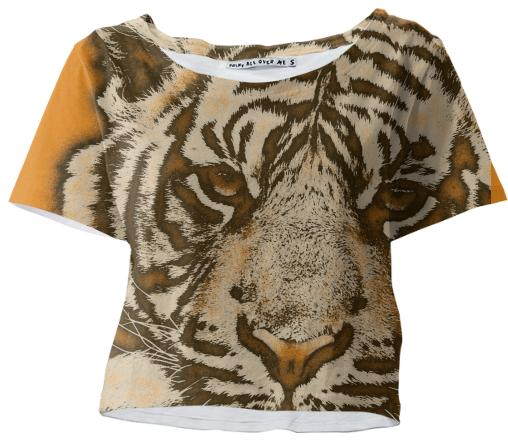 Florescent Orange Tiger Crop Tshirt