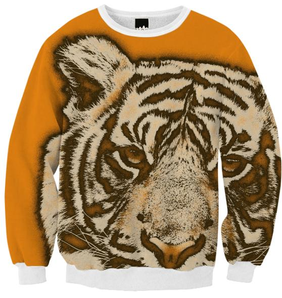 Orange Tiger Ribbed Sweatshirt