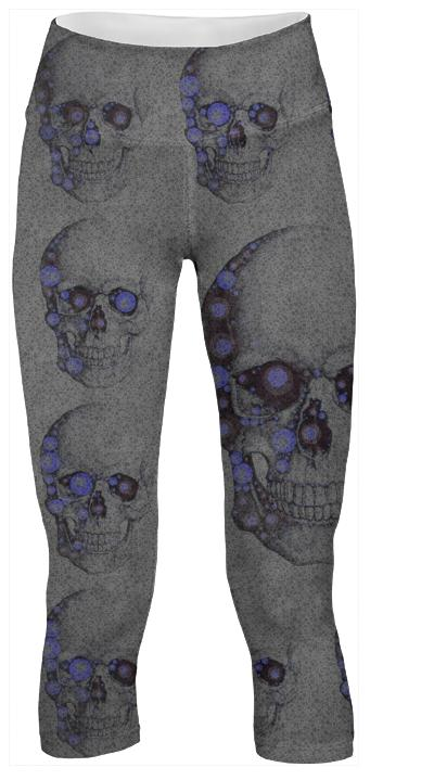 Grey Blue Skull Yoga Pants