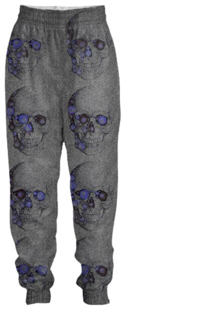Grey Blue Skull Tracksuit Pant