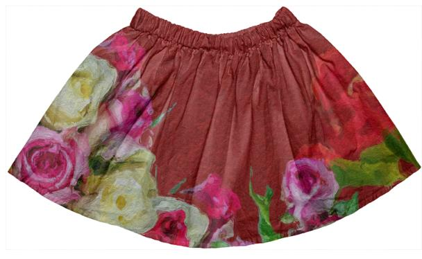 Beautiful Textured Flower Garden Kids Skirt