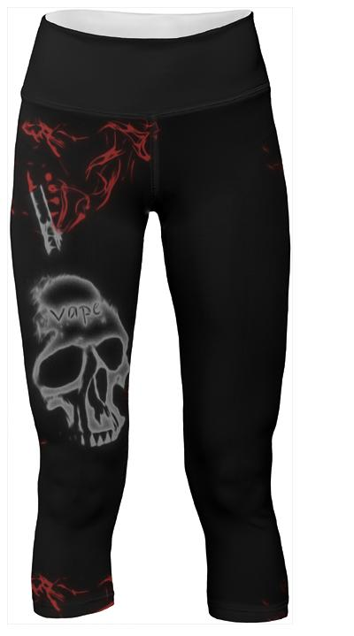 Black Skull Red Smoke Vape Yogapants