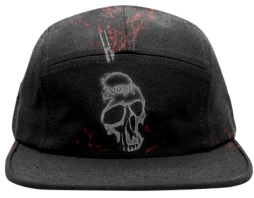 Skull Red Smoke Vape Baseball Hat