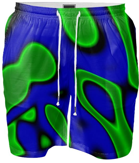 Blue Black Green Abstract Mens Swimshorts