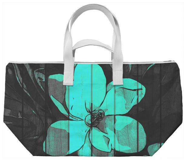 Turquoise Flower Wood Weekend Bag