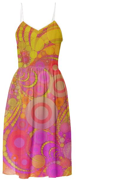 Pretty Pink Yellow Abstract Summer Dress