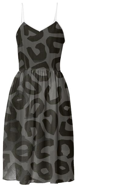 Black Cheetah Abstract Summer Dress