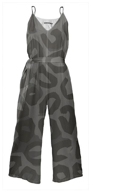 Black Cheetah Abstract Tie Waist Jumpsuit