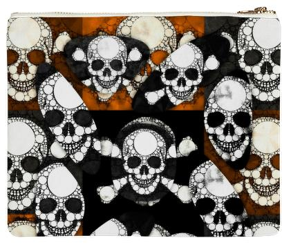 Skull Metal Neoprene Clutch
