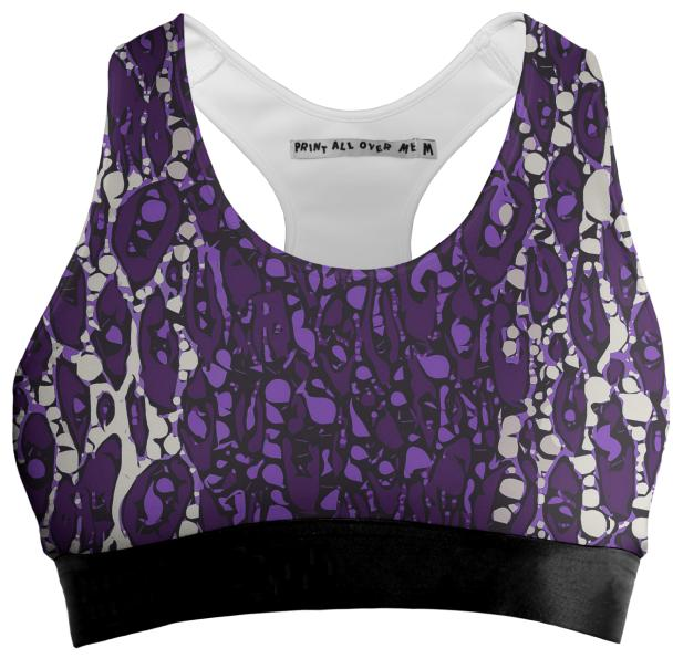 Purple Cheetah Abstract Sports Bra