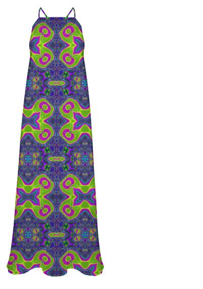 Trippy Neon Pink Lime Abstract Chiffon Maxi Dress