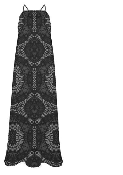 Black Silver Aztec Pattern Chiffon Maxi Dress