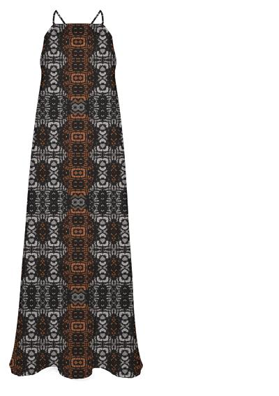 Brown Grey Animal Print Abstract Pattern Chiffon Maxi Dress