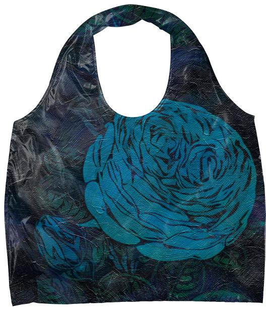 Turquoise Painted Roses Eco Tote