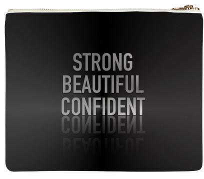 Shiny Black Strong Beautiful Confident Neoprene Clutch Bag