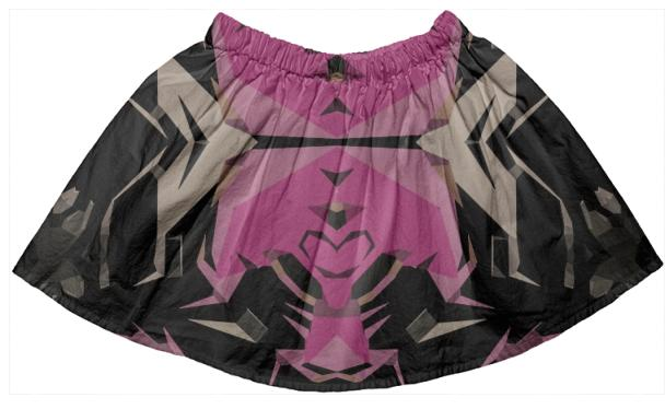 Pink Black Abstract Pattern Girls Skirt