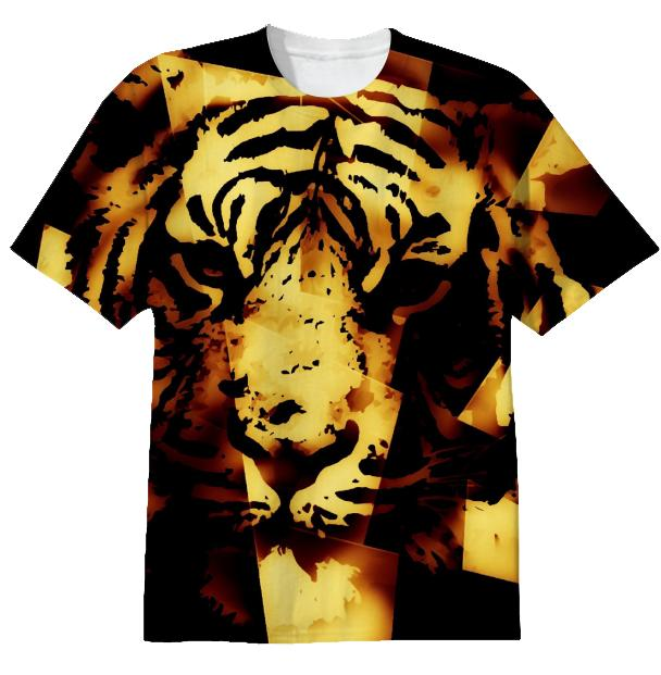 Gorgeous Golden Tiger Alloverprint Tshirt