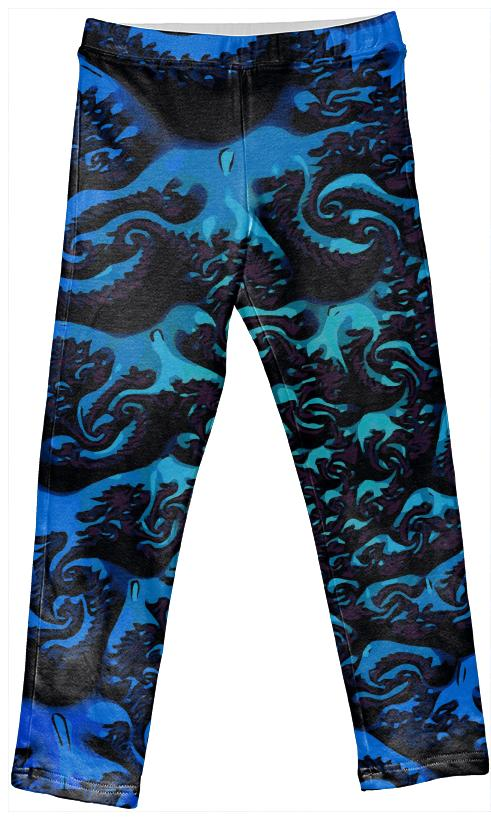 Blue Turquoise Kid s Abstract Leggings