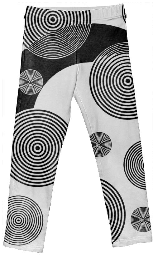 Blk Wht Retro Pattern Girl s Leggings