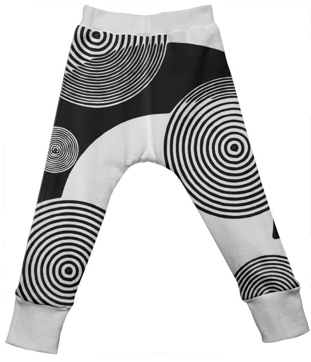 Black White Retro Pattern Kid s Drop Pants