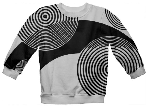 Black White Retro Pattern Kid s Sweatshirt