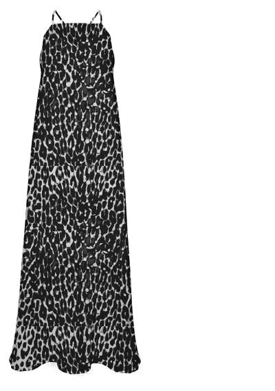 Black White Leopard Abstract Chiffon Maxi Dress