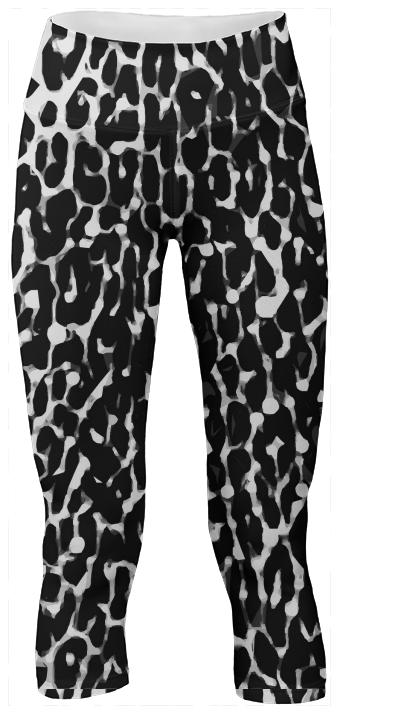 Black White Leopard Abstract Yoga Pants