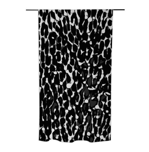 Black White Leopard Abstract Curtains