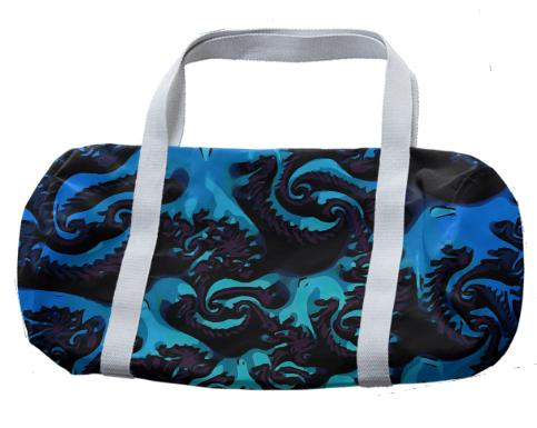 Turquoise Blue Fractal Duffle Bag
