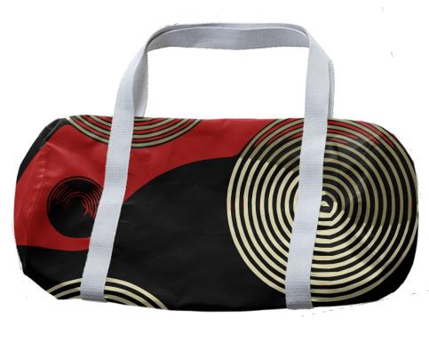 Red Black Retro Pattern Duffle Bag
