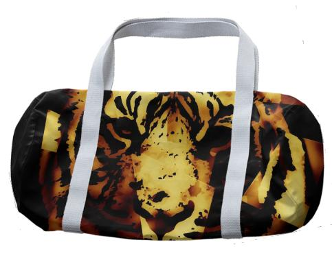 Gold Black Abstract Tiger Duffle Bag