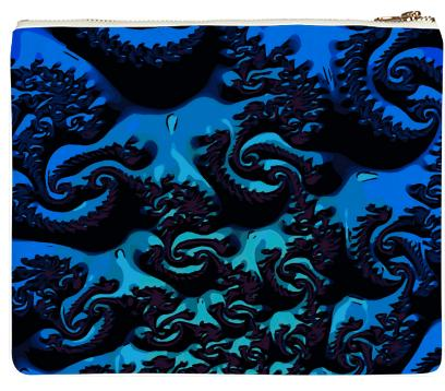 Gorgeous Turquoise Blue Fractal Neoprene Clutch