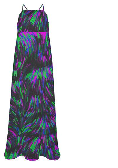 Gorgeous Neon Green Purple Black Chiffon Maxi Dress