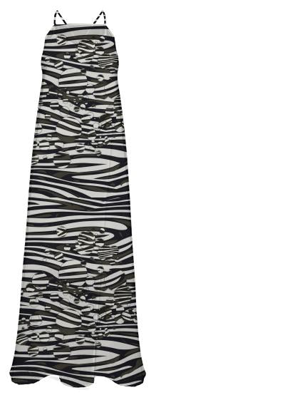 Crazy Gorg Zebra Abstract Chiffon Maxi Dress