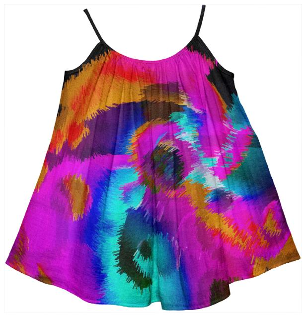 Florescent Pink Turquoise Abstract Girl s Tent Dress