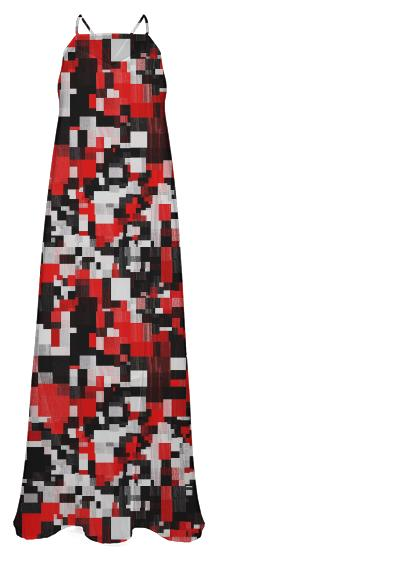 Bright Red Black Chiffon Maxi Dress