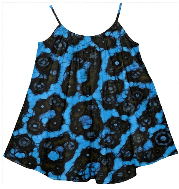Bright Blue Cheetah Abstract Girl s Tent Dress